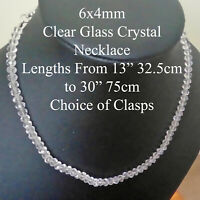 6x4mm Faceted Clear Glass Crystal Necklace (Choice of Length and Clasps) ML
