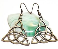 CELTIC KNOT_Large Bronze Charm Earrings Hook_Triquetra Irish Trinity Pagan_13E