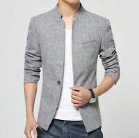 stylish mens one button stand collar formal blazer jacket slim fit overcoat coat