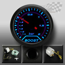 """MANOMETRO Turbo Boost faccia Affumicato 52mm 2"""" (bar) LED BLU INTERNI Pannello Dash"""