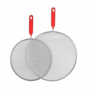 Red SPLATTER SCREEN SET Frying Pan Cover Saucepan Mesh Lid Anti Oil Splash Guard