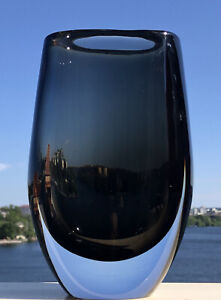 Large Signed SVEN PALMQVIST ORREFORS Vase Sommerso Gray Dusk Solid Glass,1950