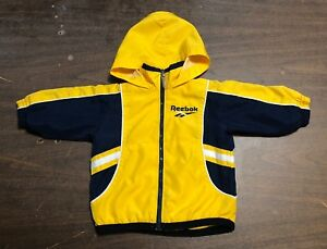 REEBOK Yellow Black Hooded Jacket 12 Months Front Zipper Long Sleeves Lined