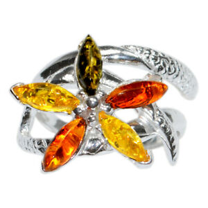 4.8g Authentic Baltic Amber 925 Sterling Silver Ring Jewelry s.5 N-A7353