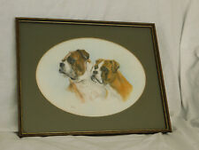 Beautifully Drawn and Detailed Signed Pastel of Two Boxer Dogs
