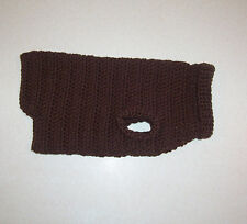 Hand Crochet Chocolate Brown Dog Sweater for Small Pet