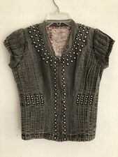 Guess Jeans Studded Distressed Gray Vintage Looking Zip Up Vest Size EXTRA SMALL