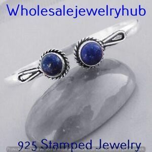 Lapis Lazuli Gemstone 925 Sterling Silver Plated Cuff Bangle Bracelet BN-1314