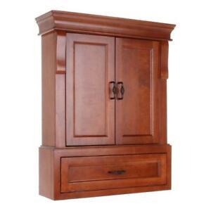 Bathroom Storage Cabinet Wall Mount Two-Door Wood Concealed Hinges Warm Cinnamon