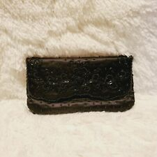 La Regale Black Beaded Evening Bag Clutch NWOT