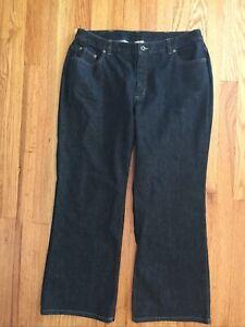 TALBOTS Women's Sz 14P Petite Boot Leg Five-Pocket Stretch Jeans Dark