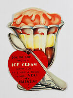 Antique vtg Valentines 23 Action Motion Movement Ice Cream Sundae Card