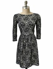 French Connection Black Lace Layered Nude Champagne 3/4 Sleeve Skater Dress- 10