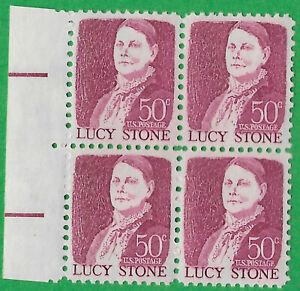USA-United States 1968 50c Postage Lucy Stone marginal block of 4 Scot 1293 MNH,