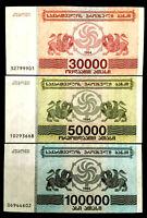 Georgia 30,50,100 Thousand Laris1994 Banknote World Paper Money UNC Bill