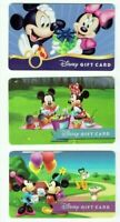 DISNEY Gift Card LOT of 3 Mickey, Minnie, Picnic, Presents, Pluto - No Value