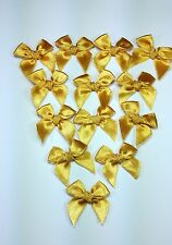 50 Mini Gold Satin Ribbon Craft Tied Bows Trim wedding Doll Card Scrapbook Gift