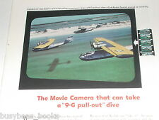 1943 KODAK advertisement, Cine-Kodak 16mm camera,  Navy PBY Catalina in flight