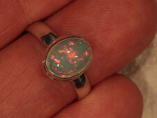 SZ 7.5 Cabochon Opal Ring 925 Sterling Silver Ethiopian Welo Fire Opal 5 6 8 9