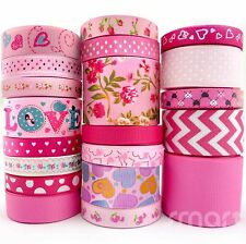 20 Yards Flower Dot Grosgrain Ribbon 9mm--38mm Assorted 20 Styles Pink Theme Bow