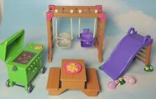Fisher Price LOVING FAMILY Dollhouse BACKYARD FUN PLAYGROUND Slide, Swing Set +