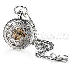 Mens Antique Silver Steampunk Hollow Gear Hand-Winding Mechanical Pocket Watches