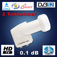 TWIN LNB 0.1dB Switch Full HDTV Digital für 2 Teilnehmer Receiver 3D HD DOUBLE