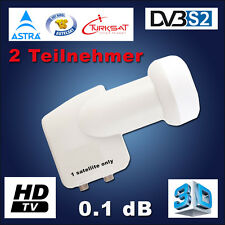 TWIN LNB 0.1dB Switch Full HDTV Digital für 2 Teilnehmer Receiver 3D HD DOUBLE