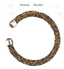 Brown Sparkle Swarovski Elements Crystaldust Open Bangle by Harmony Bracelets