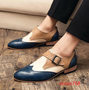 British Men's Carved Wing-tip Buckle Oxfords Vintage Brogues Oxford Casual Shoes