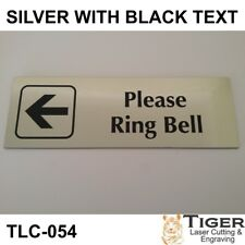 PLEASE RING BELL WITH LEFT ARROW GRAPHIC  SIGN 20CM X 6.5CM - TLC-054