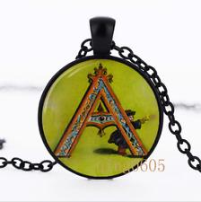 Letter A Victorian Alphabet Glass Dome black Chain Pendant Necklace wholesale