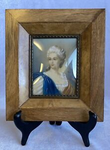 Miniature Portrait of a French Lady Mixed Media on Paper 20th Century