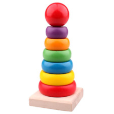 Colorful Wooden Baby Pre School Stacking Rings