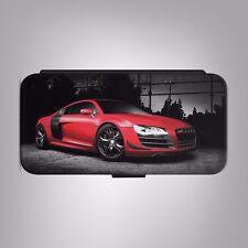 Red Audi R8 GT Supercar Teléfono Abatible de Cuero Funda Cubierta para IPHONE SAMSUNG