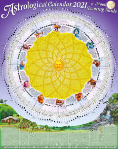 1 x New 2021 Astrological Moon Calendar & Planting Guide: Rolled & Posted in a T