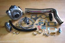 T3/T4 Hybrid Turbocharger Kit T3 T4 Turbo -4an Line Kit, Downpipe SS Kit, BOV