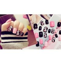 Black + Hot Pink Acrylic Nail Tips Short False Nails Art Fingernails 24Pcs/Set