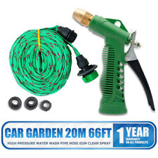 66FT Flat Garden Hose Pipe & Reel With Spray Nozzle Gun Outdoor Watering 20M New