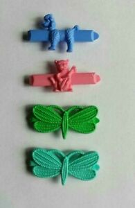 Vintage Barrettes Girls Poodle, Dragonflies, Fiddler Goody