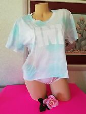 Victoria's Secret PINK Campus Short Sleeve Tee Purple Jet Stream Blue Tie Dye L