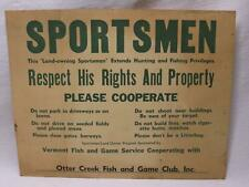 Vermont Otter Creek Fish & Game Club Posted Sign Poster Vtg Old New Haven Vt