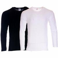 Mens T Shirt S - 2XL Long Sleeve Crew Neck Regular Fit Pullover Cotton Plain Tee