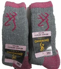 Womens Browning IMPERFECT Wool Boot Socks Pink H.Gray 2Pair Shoe Size Medium 6-9