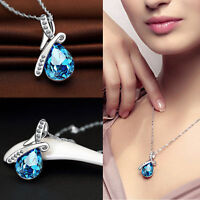 Ladies Silver Chain Crystal Rhinestone Pendant Necklace Jewelry Gift 3 Colour