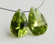 AAA Natural Peridot Concave Pan Pear Cut Briolette Gemstone Beads Matching Pair