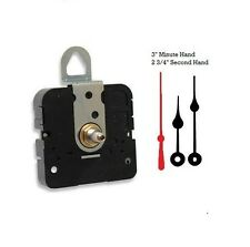 """Quartz Clock Movement Mechanism With 3"""" spade hands up to 3/8"""" thick dial"""