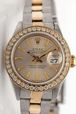 $10,000 Genuine Rolex Ladies DATEJUST 2ct VS G Diamond 18k Gold SS Watch & BOX