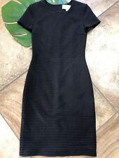 Hugo Boss Womens 0 Black Tone On Tone Stripe Short Sleeve Sheath Dress OP