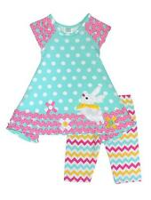 New Girls Boutique Peaches n Cream sz 12m Aqua BUNNY outfit Dress Clothes Easter